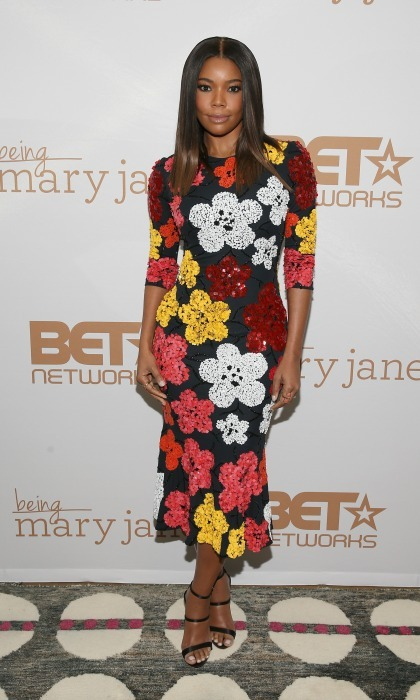 January 9: Gabrielle Union brought spring to chilly NYC wearing a floral dress by Naeem Khan to a screening of <i>Being Mary Jane</i>.