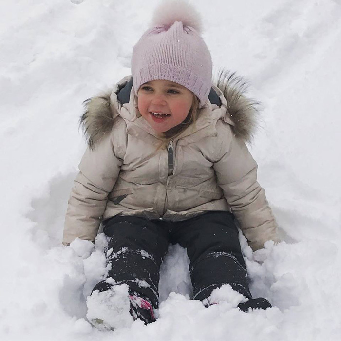 Princess Leonore was an adorable snow bunny playing outdoors during a winter getaway with her family in the Swiss Alps.