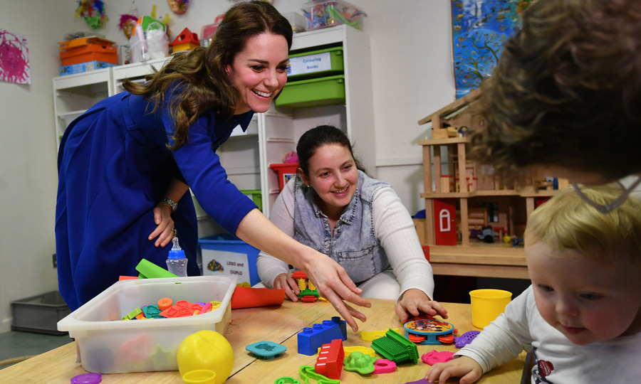 "The Duchess of Cambridge joined a ""theraplay"" session at the center, which promotes the attachment relationship between parents and children.