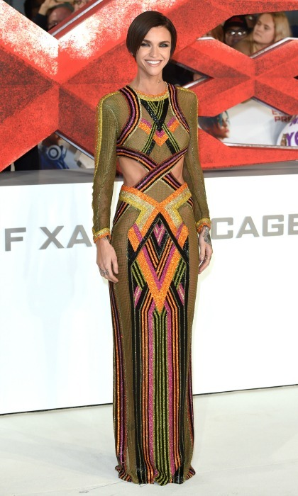 "January 10: Despite the chill, Ruby Rose stunned in a multi-colored chainmail dress by Balmain during the <i>xXx"": Return of Xander Cage</i> premiere in London. 