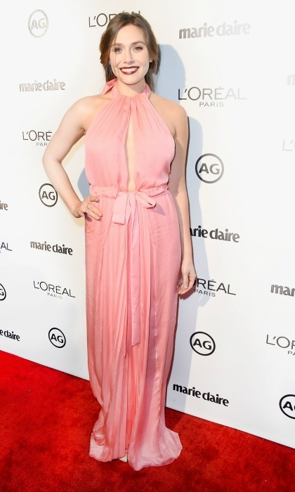 January 10: Pretty in pink! Elizabeth Olsen wore a blush colored gown during the 2017 Marie Claire Image Maker Awards in West Hollywood. 