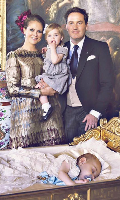 "Madeleine shared a photo with her husband and children writing, ""We are so happy and thankful that we had such a lovely christening for Nicolas. Leonore had a lot of fun and Nicolas was a bit overwhelmed!""