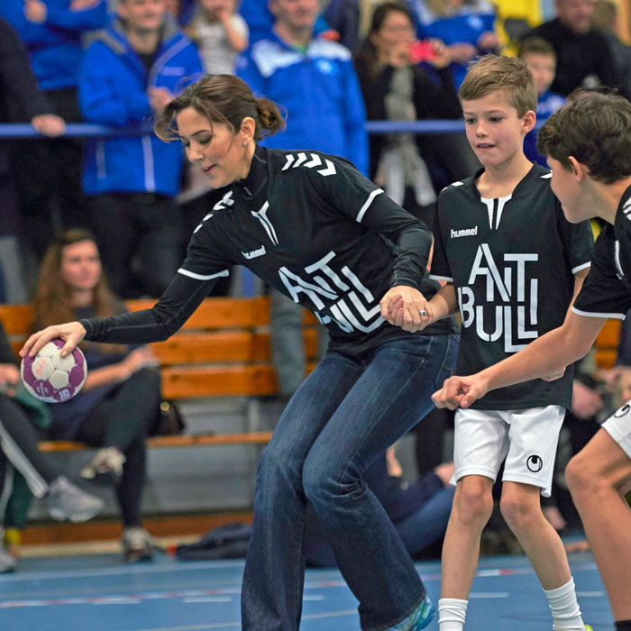 "Crown Princess Mary of Denmark showed off her sporty side playing handball with young kids during an event for the anti-bullying campaign ""Antibulli"" in Silkeborg, Denmark.