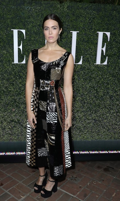 January 14: Mandy Moore also attended ELLE's Annual Women In Television Celebration 2017 in LA. The <i>This Is Us</i> star looked edgy in a patchwork dress from designer Marc Jacobs.