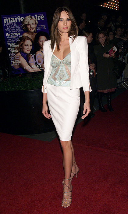 Melania wore a white skirt suit and lace top to the 'Charlie's Angels' premiere in New York City back in October 2000.