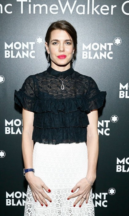 Charlotte Casiraghi was a timeless beauty at the unveiling of Mont Blanc's TimeWalker collection at Brasserie Des Halles de L'Ile in Geneva, Switzerland.