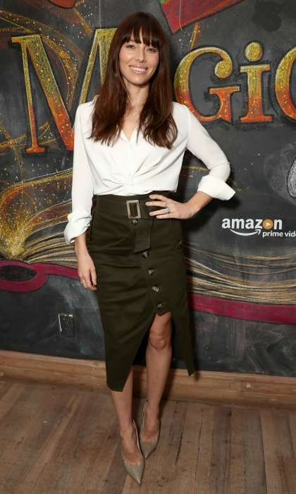 January 14: Jessica Biel showed off her long legs in a skirt by Self-Portrait during the second season premiere of Amazon's <i>Just Add Magic</i> at Au Fudge in West Hollywood. 