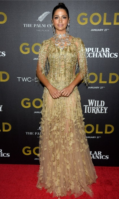Golden goddess! Camila Alves was draped in head-to-toe gold thanks to Marchesa during the premiere of <i>Gold</i> in NYC. 