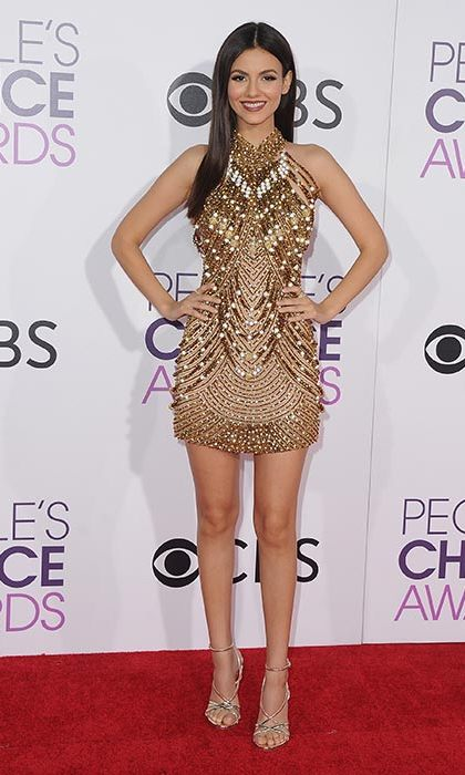 January 18: Victoria Justice wowed in a gold embellished mini dress from Yousef Aljasmi at the People's Choice Awards 2017 at Microsoft Theater in Los Angeles. 