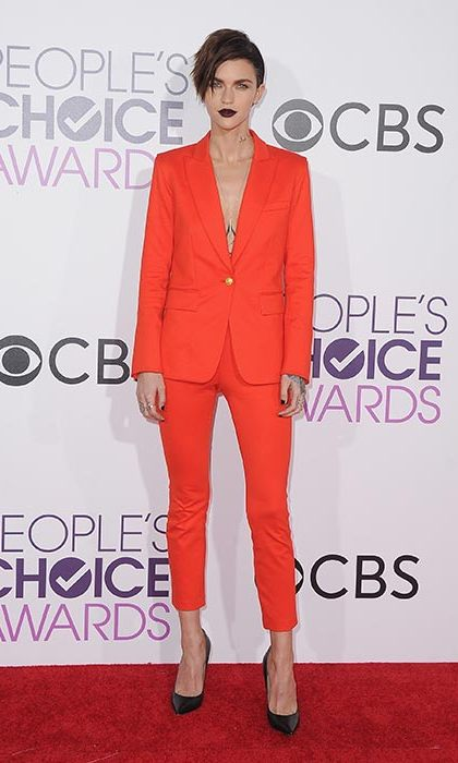 January 18: Ruby Rose made a red carpet style statement in this tailored suit at the People's Choice Awards 2017 at Microsoft Theater in Los Angeles. Dark Urban Decay 'Vice' liquid lipstick completed the look. 
