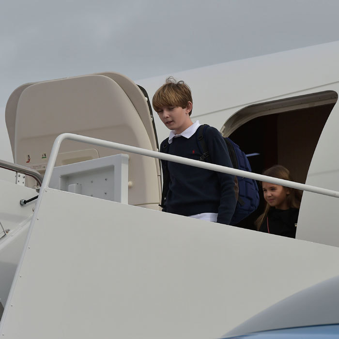 Donald Trump's youngest son Barron was the first member of the Trump family to emerge from Air Force One at the Andrews Air Force Base in Maryland, followed by the President-elect's oldest grandchild, Kai.