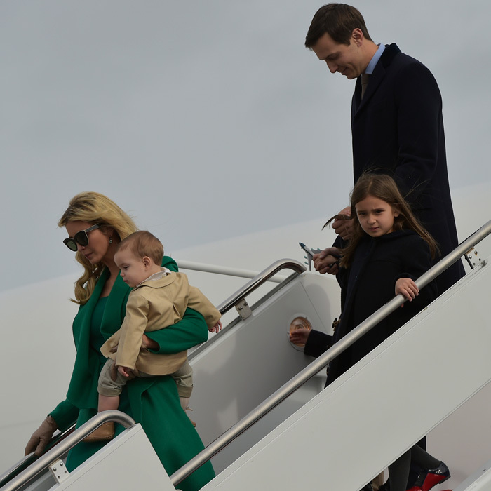 Ivanka Trump and her brood began their journey to their  new home of Washington, D.C. with her father. Jared Kushner followed his wife and son holding on to their older children, Joseph and Arabella.