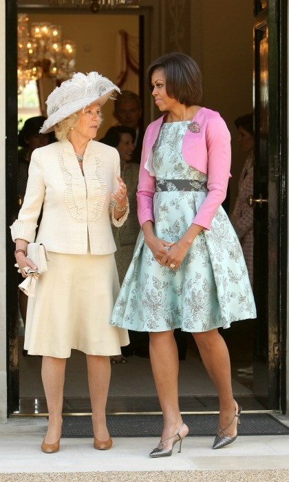 The Duchess of Cornwall dressed to impress as she left  Winfield House with Michelle. 