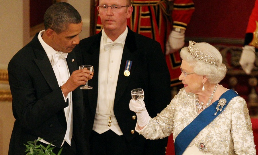 Cheers! President Obama and Queen Elizabeth raised a glass in honor of each other during the banquet. 