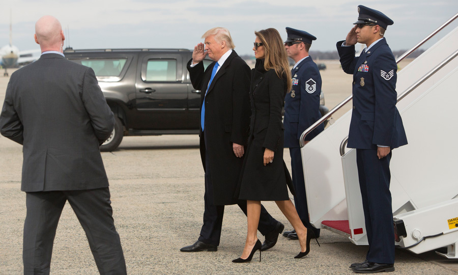 The president-elect gave a salut as he was welcomed to Joint Base Andrews the day before his inauguration.