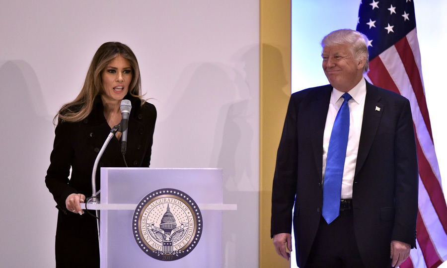 "While at their first event of the day, the future first lady delivered brief remarks to luncheon-goers. ""It's great to be here. Thank you all for your support. Tomorrow we start the work,"" Melania said. ""We will make America great again.""