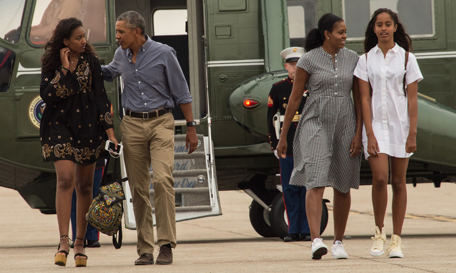 August 2016: Sasha Obama donned a black bohemian dress, while her older sister Malia wore a white frock as they prepared to board Air Force One at Cape Cod Air Force Station in Massachusetts.