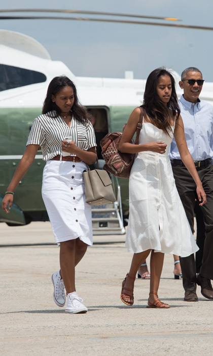 August 2016: The Obama girls were vacation-ready sporting summer ensembles as they prepared to depart for a two-week holiday at Martha's Vineyard.