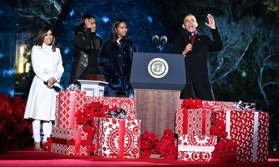 December 2016: The youngest first daughter was bundled up in a furry blue coat for the 94th annual National Christmas Tree Lighting Ceremony on the Ellipse in President's Park.