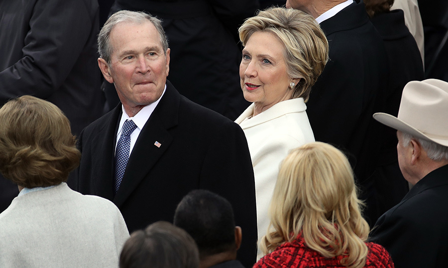 As is traditional, a host of ex-Presidents and First Ladies were on hand for the ceremony. Former President George W. Bush was seated beside former Secretary of State and First Lady Hillary Clinton, who attended despite her defeat by now-President Trump in the 2016 election.
