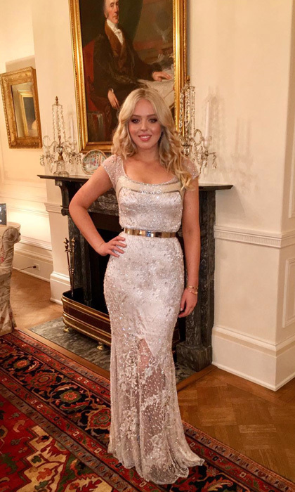 Tiffany sparkled in a gown by New York designer <b>Anne Bowen</B> that featured Swarovski crystals and Solstiss lace to her father's candlelight dinner the day before his inauguration.