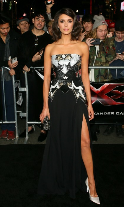 January 19: Nina Dobrev showed off her stellar legs during the premiere of <i>xXx: Return Of Xander Cage</i> in Hollywood. 