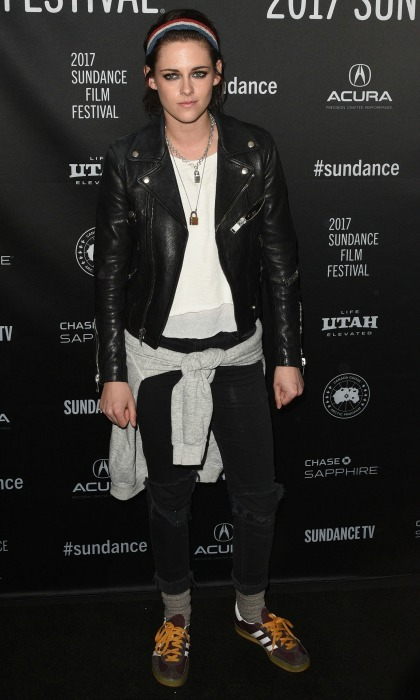 January 19: Kristen Stewart showed off her edge in a leather jacket and jeans combo during the premiere of <i>Come Swim</i> in Park City. 