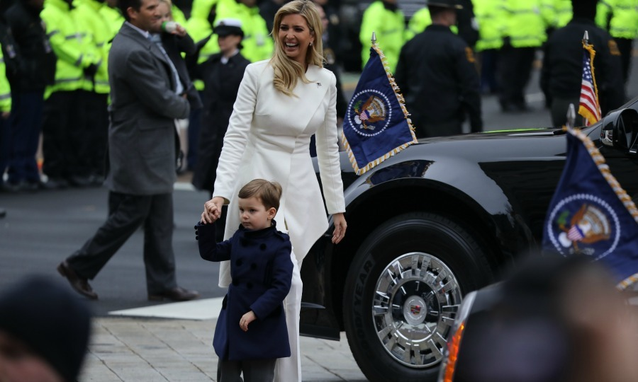 Ivanka and her oldest son Joseph looked on at supporters during the inaugural parade. 