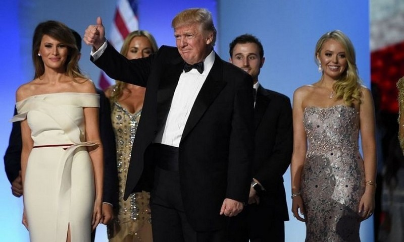 President Trump was supported by his family, including daughter Tiffany – whose mom is the president's ex-wife Marla Maples – who wore a mermaid gown by Simin Couture, right.