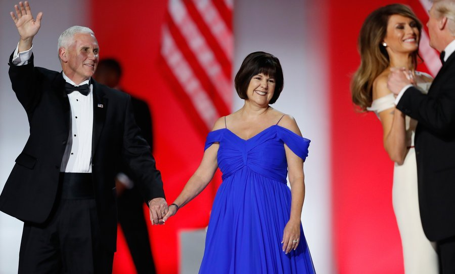 Vice President Mike Pence and wife Karen Pence greeted the crowd before beginning their own first dance at the Freedom Inaugural Ball.