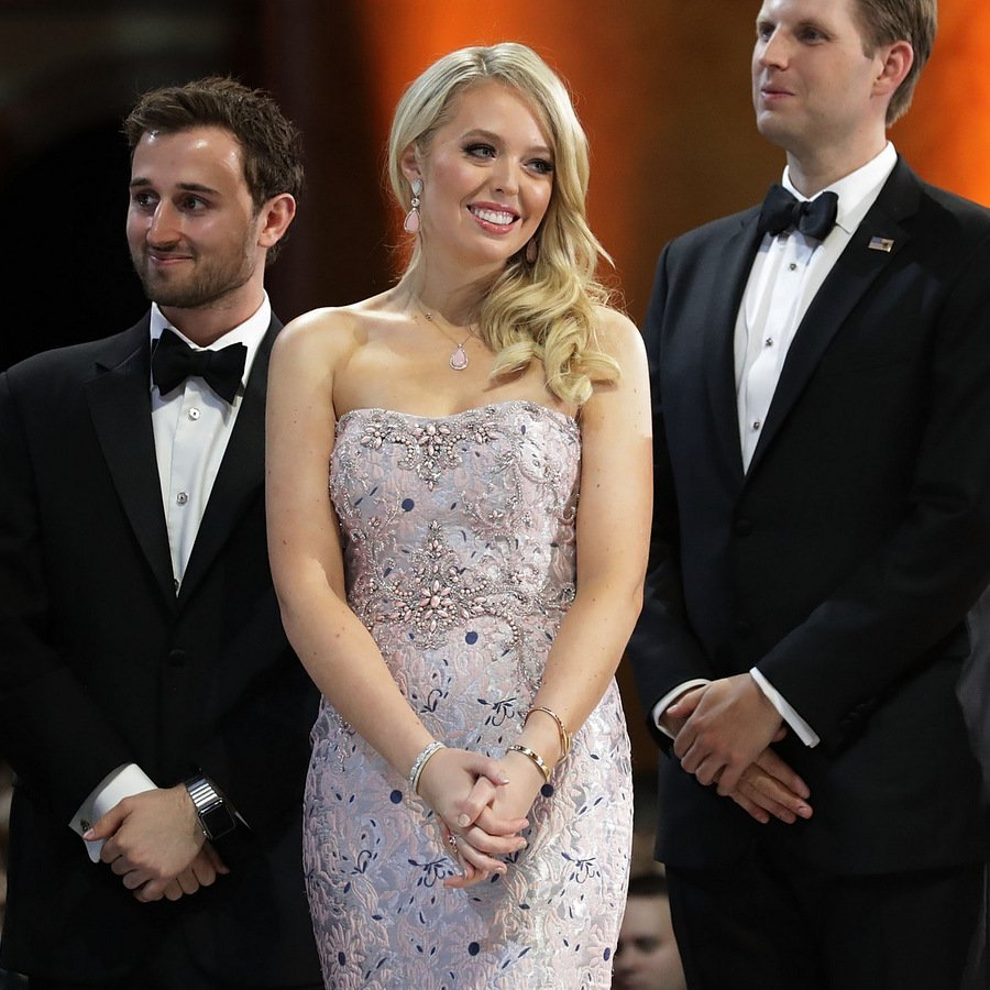 President Trump's daughter <b>Tiffany Trump</B> wore an embellished pink strapless mermaid gown by <b>Simin Haute Couture</B> and matching rose-colored jewelry.