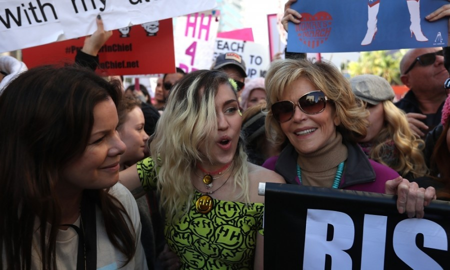 Marcia Gay Harden, Miley Cyrus and Jane Fonda were among the tens of thousands of people that took to the streets of Downtown L.A. for the Women's March. 