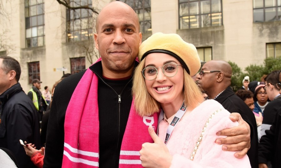 Roar! Katy Perry posed with Senator Cory Booker at the Women's March on Washington in D.C.