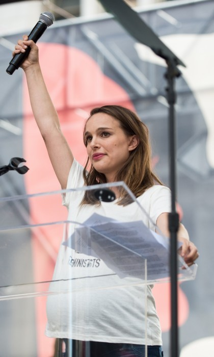 "Natalie Portman took to the L.A. stage as well. The pregnant star thanked everyone for attending and ""for showing our power to the world."" She concluded her speech by raising her microphone into the air.
