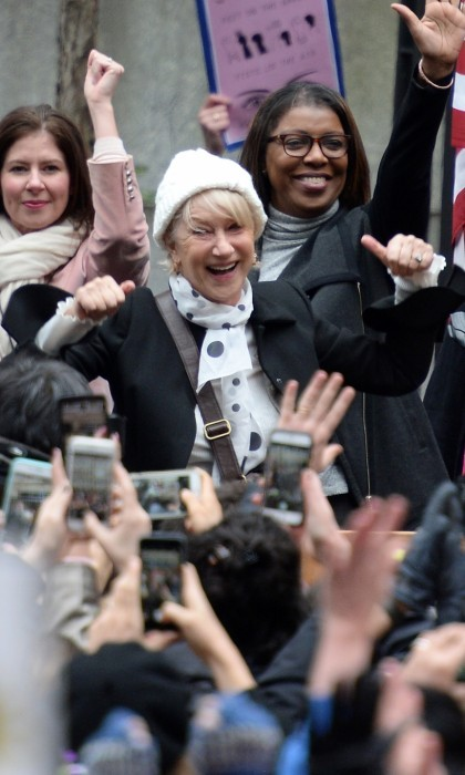 Helen Mirren encouraged crowds during the Women's March in New York City.