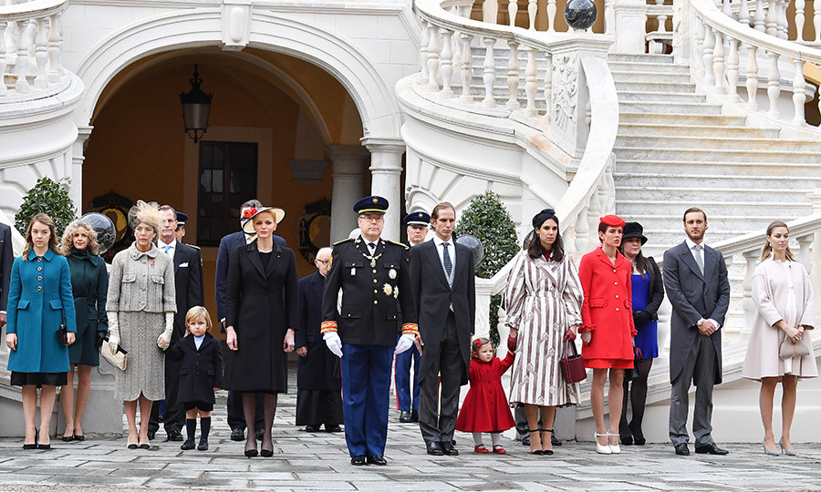 A family photo with all four of her children as well as brother Prince Albert (in military uniform) and Princess Charlene, who is to his right. Princess Alexandra is far left next to Princess Caroline, while Pierre Casiraghi and wife Beatrice are far right. Alongside Prince Albert are, left to right, Andrea Casiraghi and wife Tatiana Santo Domingo – holding hands with daughter India – Charlotte Casiraghi and Princess Stephanie's daughter Camille Gottlieb.
