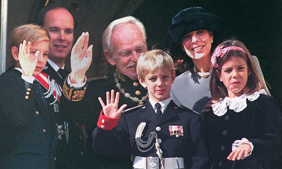 Caroline with brother Prince Albert, rear left, father Prince Rainier, rear center, and her three children – Pierre, center, Andrea, left, and Charlotte Casriaghi, right – on Monaco's National Day in 1995. 