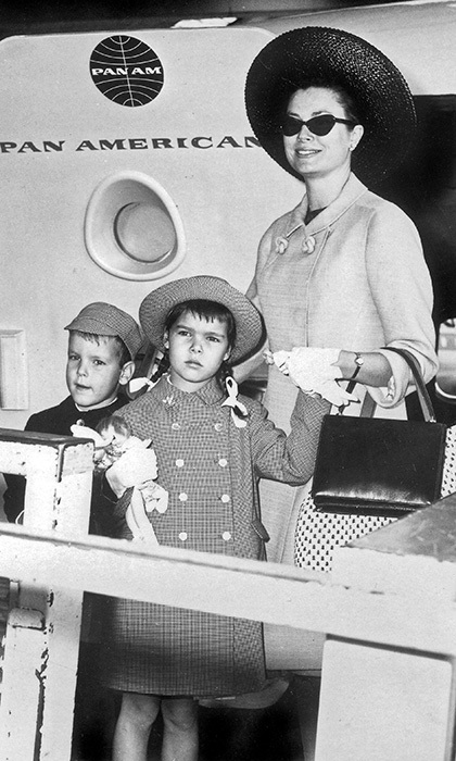 Six-year-old Caroline with mom Princess Grace and little brother Prince Albert in 1963.