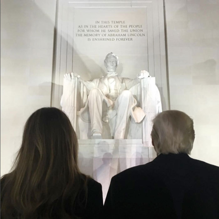 Donald Jr. snapped a photo of his stepmother Melania and father Donald admiring the Lincoln Memorial the day before his presidential inauguration.