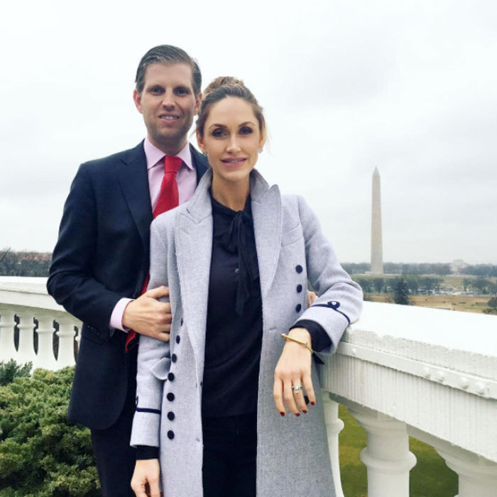"Eric and his wife Lara posed for a scenic photo op on top of the White House ""after an unforgettable weekend.""