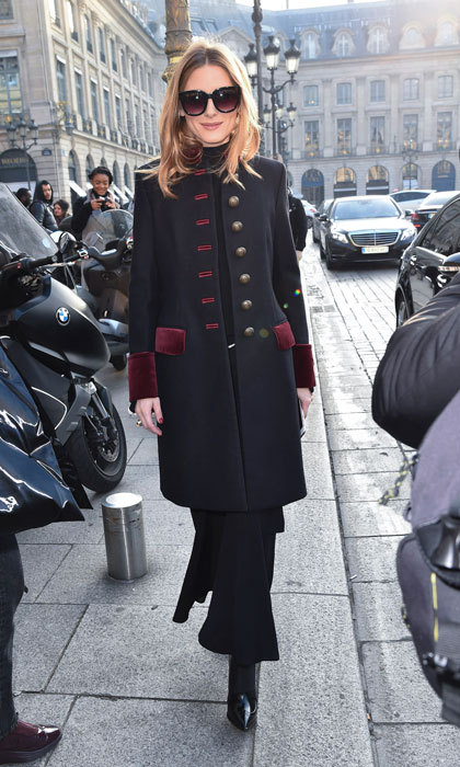 Olivia Palermo looked chic in a military coat as she arrived to the Schiaparelli Fashion show.