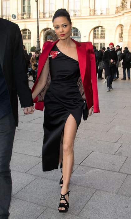 <i>Westworld</i> star Thandie Newton flashed some skin wearing a little black dress to the Schiaparelli Haute Couture show.