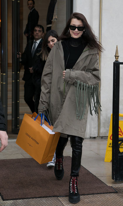 Model Bella Hadid was spotted out and about shopping in Paris.