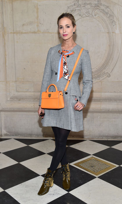 Elizabeth Von Thurn Und Taxis looked fifty shades of chic sporting a grey coat dress to the Christian Dior Haute Couture presentation.