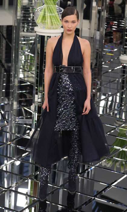Bella Hadid sparkled in a navy number at the  Chanel Haute Couture Spring Summer 2017 show.