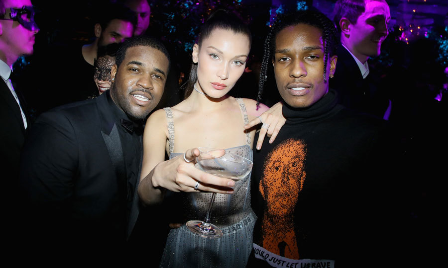Bella Hadid partied with A$AP Ferg and A$AP Rocky at the Christian Dior masquerade ball.