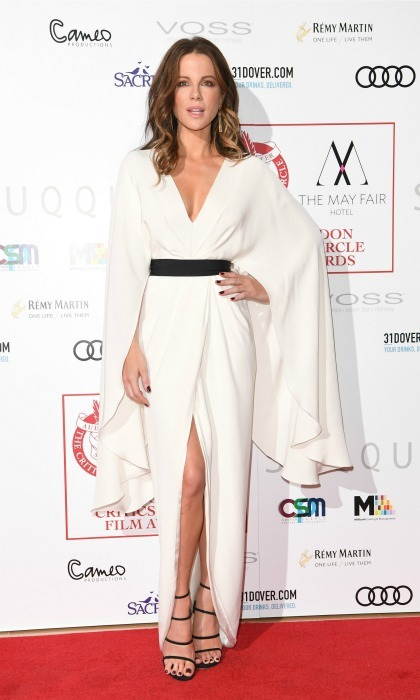 January 22: Kate Beckinsale went with a kimono style dress for the London Critics' Circle Film Awards at the May Fair Hotel.  