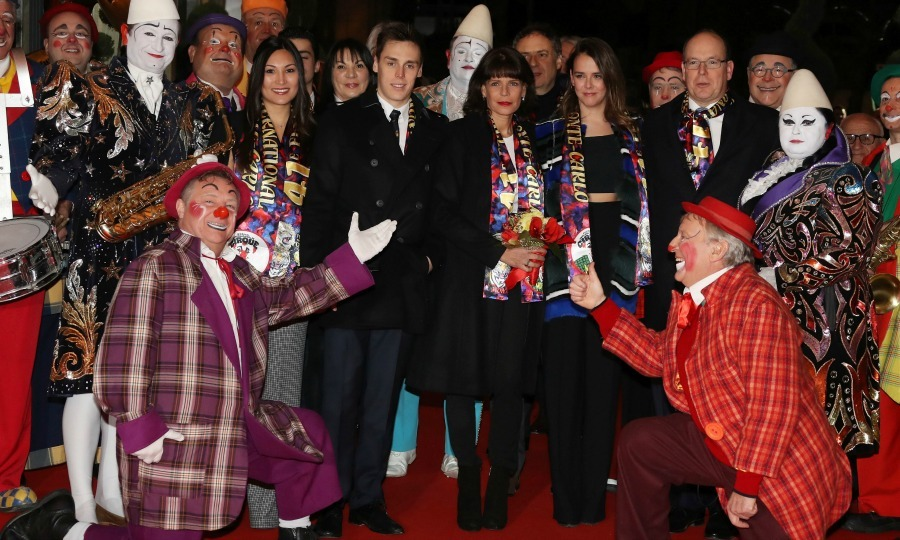 Clowning around! Prince Albert II of Monaco, Princess Stephanie, Pauline Ducruet and her brother Louis posed for a picture with some of the stars of the 41st Monte-Carlo International Circus Festival in Monaco. 