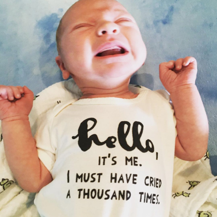 "Pink's son Jameson already appears to be an Adele fan! The singer shared a photo of her newborn baby boy wearing a onesie inspired by the <i>Hello</i> artist that read: ""Hello, it's me. I must have cried a thousand times.""