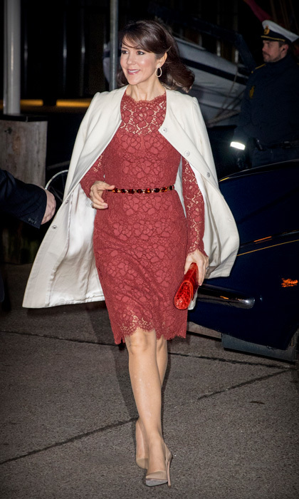 Crown Princess Mary looked lovely in a red lace frock and cream coat at the Nordatlantens Brygge for the return concert offered by the president of Iceland to the Danish Queen.
